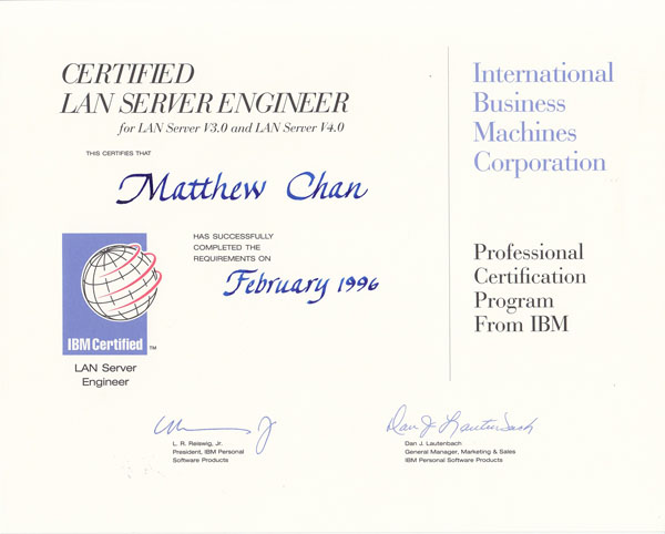 IBM LAN Server Engineer