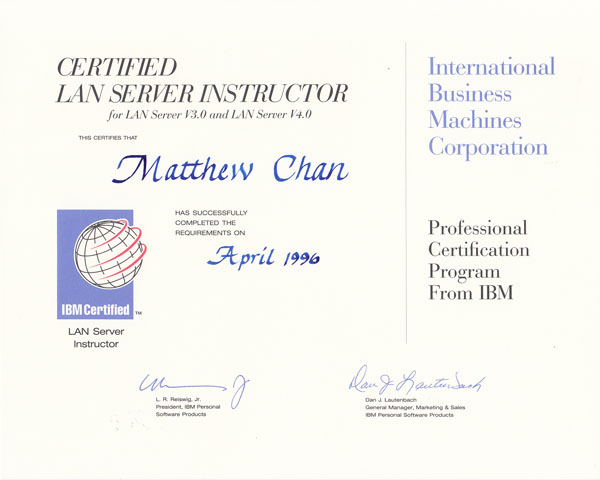 IBM LAN Server Instructor